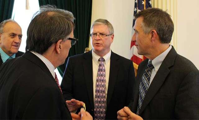 Sen. Dick Mazza, Sen. Peter Galbraith, Sen. John Campbell and Lt. Gov. Phil Scott - FILE: PAUL HEINTZ
