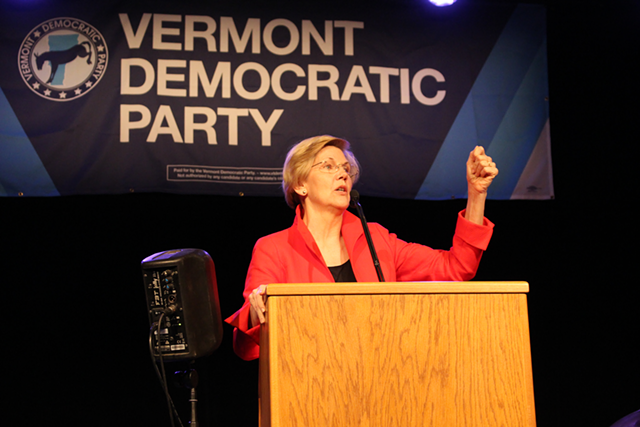 Sen. Elizabeth Warren speaks at the Vermont Democratic Party's Curtis Awards dinner in June - PAUL HEINTZ