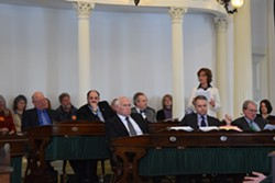Sen. Claire Ayer (D-Addison) speaks Wednesday in support of Vermont's end-of-life law on the Senate floor. - TERRI HALLENBECK