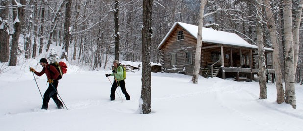 Setting off from the Slayton Pasture Cabin toward an untracked hardwood glade at Trapps.