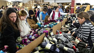 Shoppers at the sock sale
