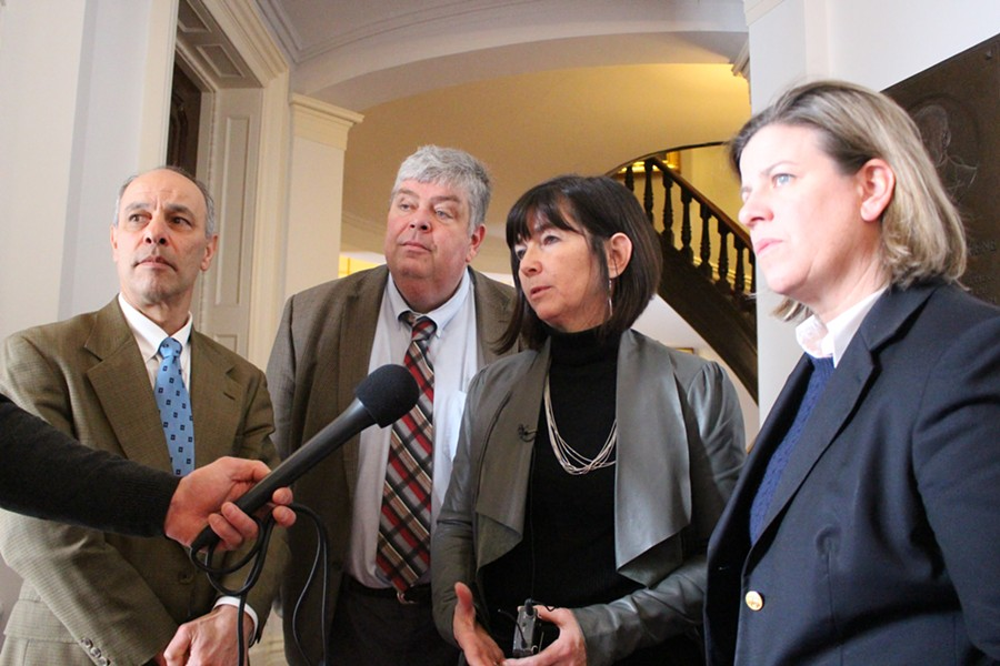 Reps. Adam Greshin, Jim Condon, Patti Komline and Heidi Scheuermann respond to Gov. Shumlin's announcement Friday at the Statehouse. - PAUL HEINTZ