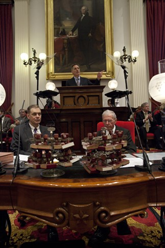 Senate Secretary John Bloomer, Gov. Peter Shumlin and House Clerk Don Milne - MATTHEW THORSEN
