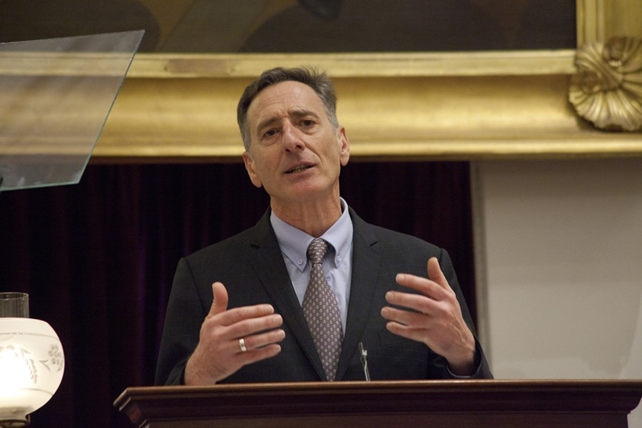 Gov. Peter Shumlin delivers his fifth budget address. - MATTHEW THORSEN