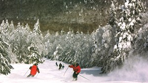 Skiers on Haystack's slopes