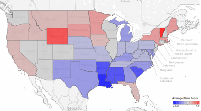 Smartest and dumbest states, according to tweets - COURTESY OF MOVOTO