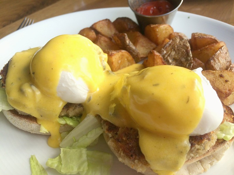 Smoked Bluefish Cake Benedict, $15 - ALICE LEVITT