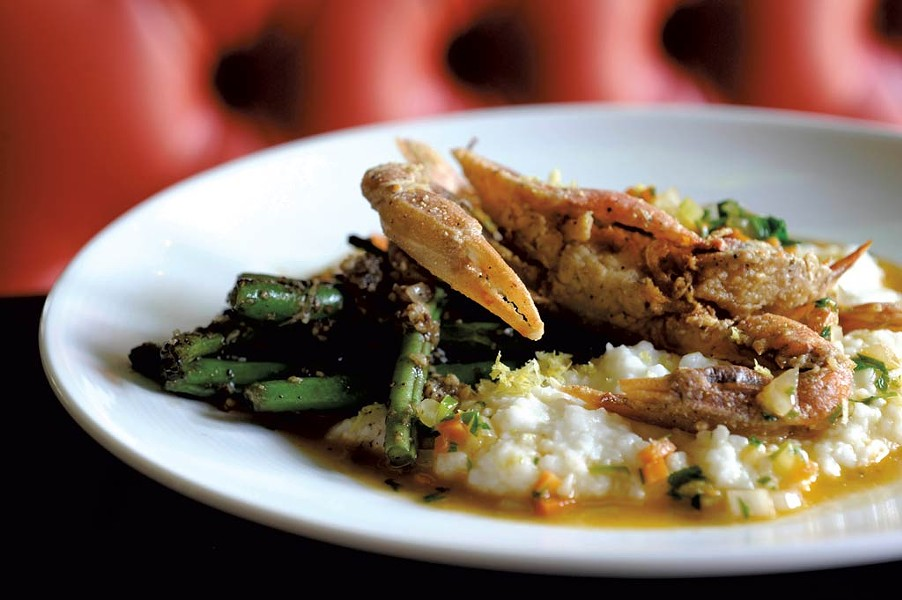 Softshell crab and grits - JEB WALLACE-BRODEUR