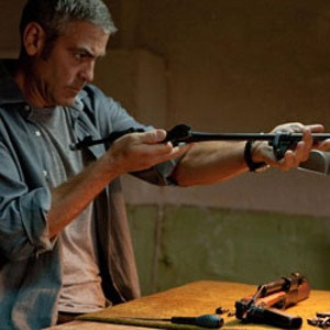 SOME ASSEMBLY REQUIRED Clooney's line of work is ambiguous, but handcrafting instruments of death is clearly part of his job description.