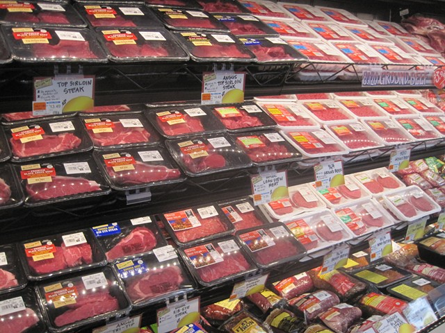 Some of the options in the expansive meat case