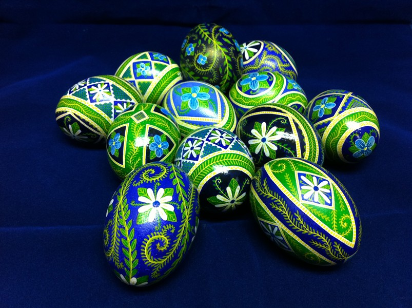 Somerset's pysanky eggs with  nontraditional daisy design - COURTESY OF THERESA SOMERSET