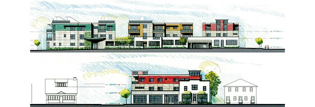 South view (top) and east view (bottom) of the proposed Packard Lofts
