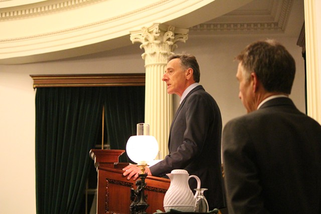 Lt. Gov. Phil Scott watches Gov. Peter Shumlin deliver closing remarks to the Vermont Senate. - PAUL HEINTZ