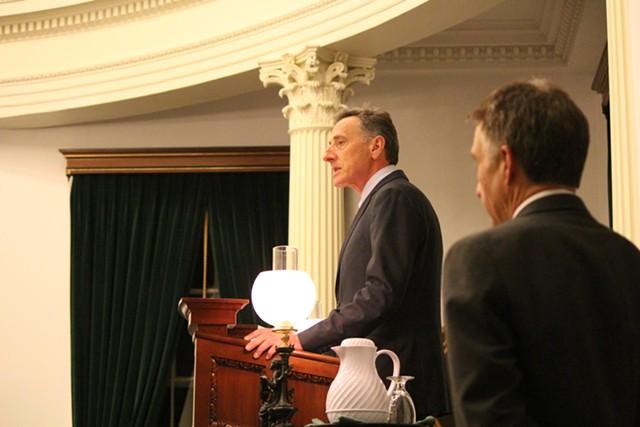 Lt. Gov. Phil Scott watches Gov. Peter Shumlin deliver closing remarks to the Vermont Senate. - PAUL HEINTZ