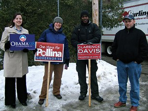 Stephanie Hainley, Kristen Staley, Clarence Davis (City Council, P-Ward 3) and Vince Brennan (School Board member), Burlington