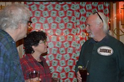 Steve Goodkind chats with supporters at his campaign launch at Three Needs bar. - ALICIA FREESE