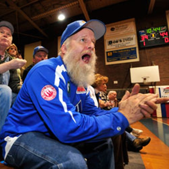 Super fan Dick Rouelle cheers on the Vermont Frost Heaves in Barre. - JEB WALLACE-BRODEUR