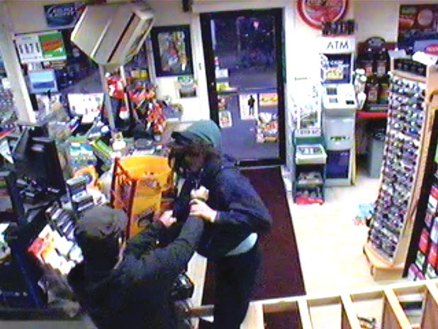 Surveillance footage of a robbery at Rotary Mart on September 4