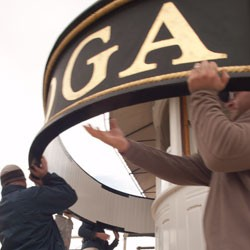taking down the lighthouse sign