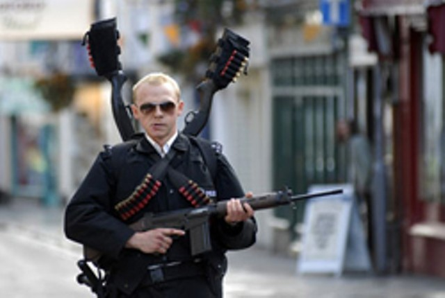 THE BOBBIES ARE BACK IN TOWN Brits get the big guns in an action-movie spoof.