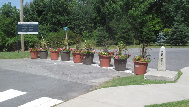 The flower pots marking the U.S./Canada border between Derby Line and Stanstead