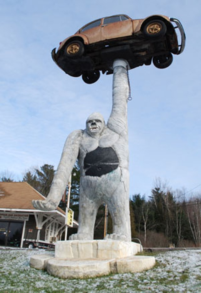 The gorilla and Volkswagen sculpture on Route 7 - MATTHEW THORSEN