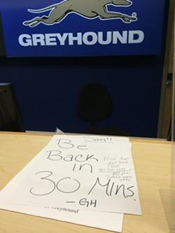 The Greyhound desk after the announcement - CORIN HIRSCH