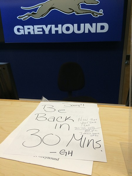 The Greyhound desk after the announcement - CORIN HIRSCH