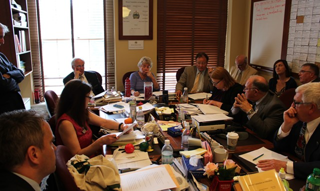 The House Education Committee debates school district consolidation. - PAUL HEINTZ