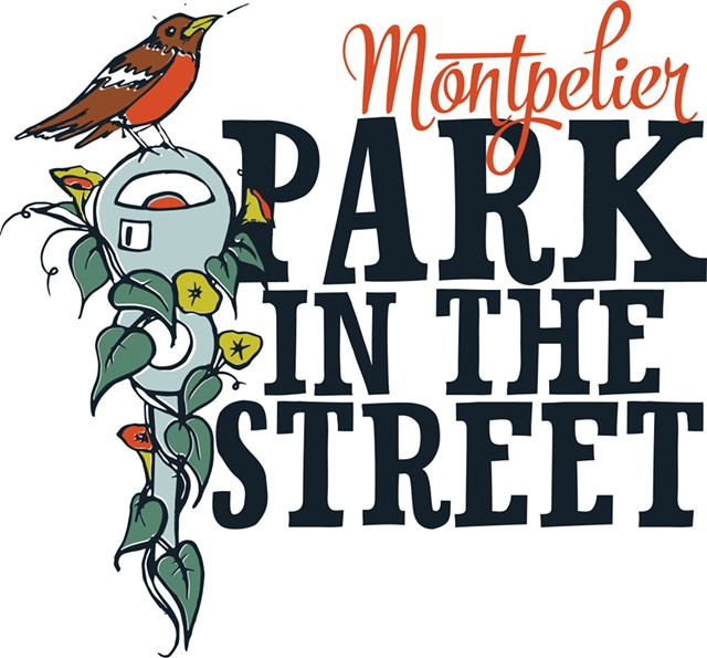 The logo of Montpelier's Park in the Street Day by Jess Graham