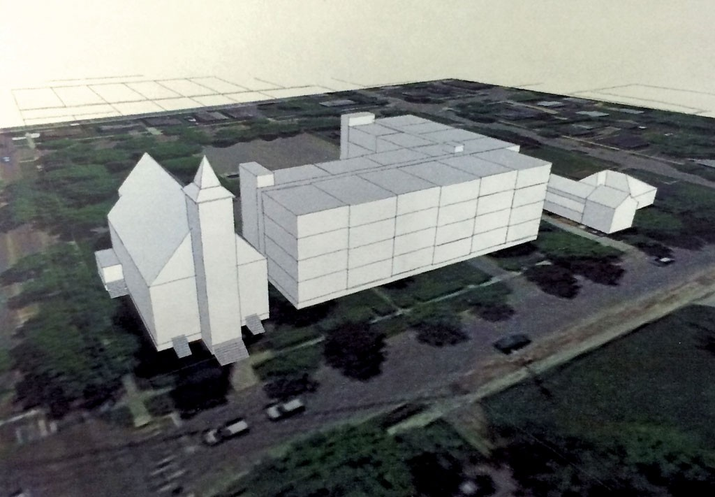 The proposed apartment complex - shown next to St. Anthony Church