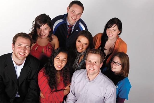 The Vermont Young Professionals Leadership Team. Front row, left to right: Chris Sapp, Kesha Ram, Mark Hall, Samantha Bellinger; Back row, left to right: Erika Keith, Devin Mason, Elisa Garcia-Rey, Bianka LeGrand - JORDAN SILVERMAN