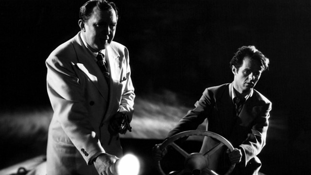 """Thomas Mitchell (whom you might know better as """"Uncle Billy"""" in It's a Wonderful Life) and the great Elisha Cook, Jr., in Dark Waters - UNITED ARTISTS"""