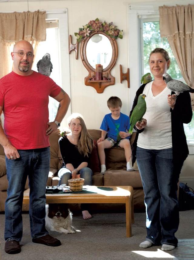 Tony, Marissa, Mason and Mysty Olson with their birds - MATTHEW THORSEN