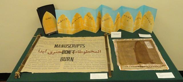 "Top: ""Burn"" by Heather Matthew; left: ""Manuscripts Don't Burn"" by Dan Wood; right: ""Empty"" by Lahib Jaddo - DAVID HALE / GODDARD COLLEGE"