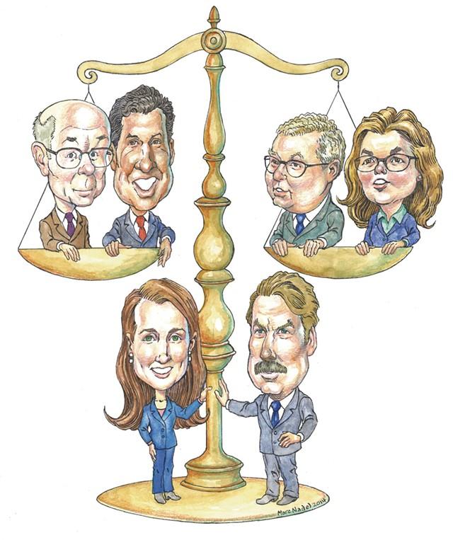Top Row: Marc Brierre, Ben Luna, Alan Franklin and Rosemary Kennedy Bottom Row: Jennifer Barrett and James Lillicrap