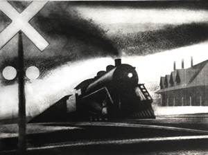 """COURTESY OF TWO RIVERS PRINTMAKING STUDIO - """"Train Passing Station"""" by Brian Cohen"""