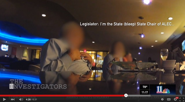 A frame from WXIA-TV's report on the American Legislative Exchange Council. - SCREENSHOT