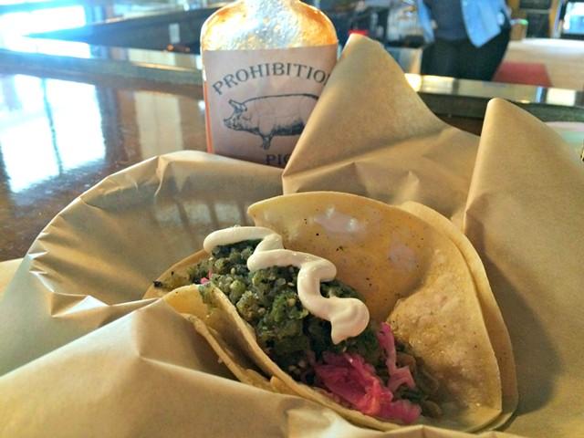 Two Pork Tacos, $9 - ALICE LEVITT