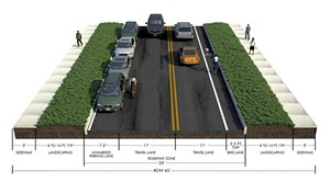 Typical cross section of North Ave. between Washington St. and North St. - COURTESY OF BURLINGTON DEPARTMENT OF PUBLIC WORKS
