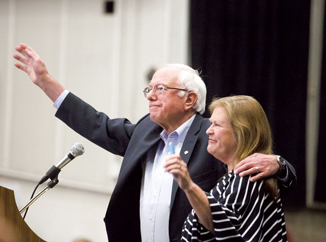 Sanders and his wife, - Jane, in Madison, Wis. - ERIC TADSEN