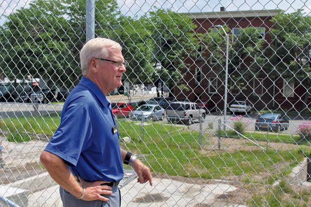 Bill Stenger surveys the Newport Renaissance Block site - PAUL HEINTZ
