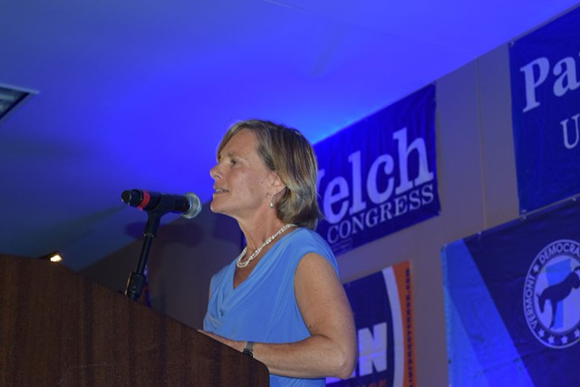 State Transportation Secretary Sue Minter speaks last month at the Vermont Democratic Party's Curtis Awards dinner, where she was one of the award recipients - TERRI HALLENBECK
