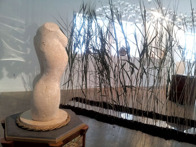 "Foreground: ""Eve: by Don Ramey; back: ""Shifted Landscape: a passage"" by Bart Shigeru Uchida - COURTESY OF MAYA URBANOWICZ"