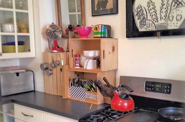 Stacked crates offer additional countertop shelving. - COURTESY OF LIZA COWAN