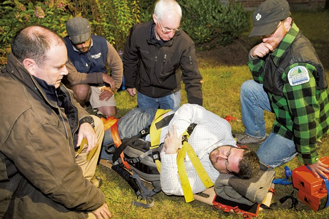 Ski patrol trainees during the Outdoor Emergency Care course - JAMES BUCK