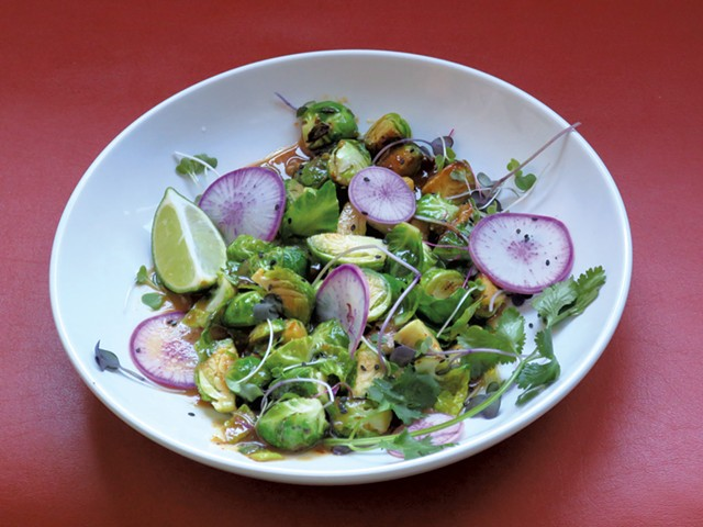 Miso-maple-sake Brussels sprouts - MATTHEW THORSEN