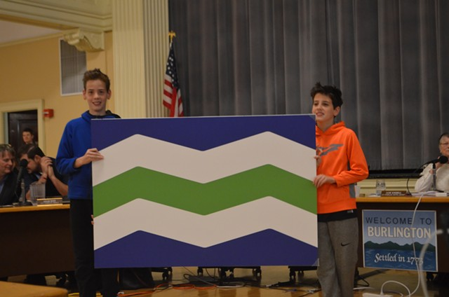 Owen and Lucas Marchessault with their winning flag design - KATIE JICKLING