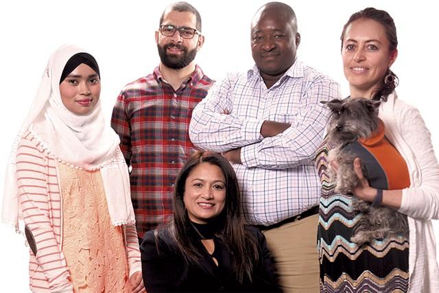 Clockwise from top left: Faridar Ko, Ahmed Alsaeedi, Issouf Ouattara, Marta Ceroni (with her dog Frida) and Hameda Hinkle - MATTHEW THORSEN