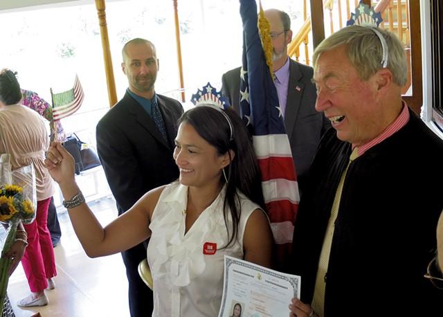Hameda Hinkle at her naturalization ceremony in September - MATTHEW THORSEN